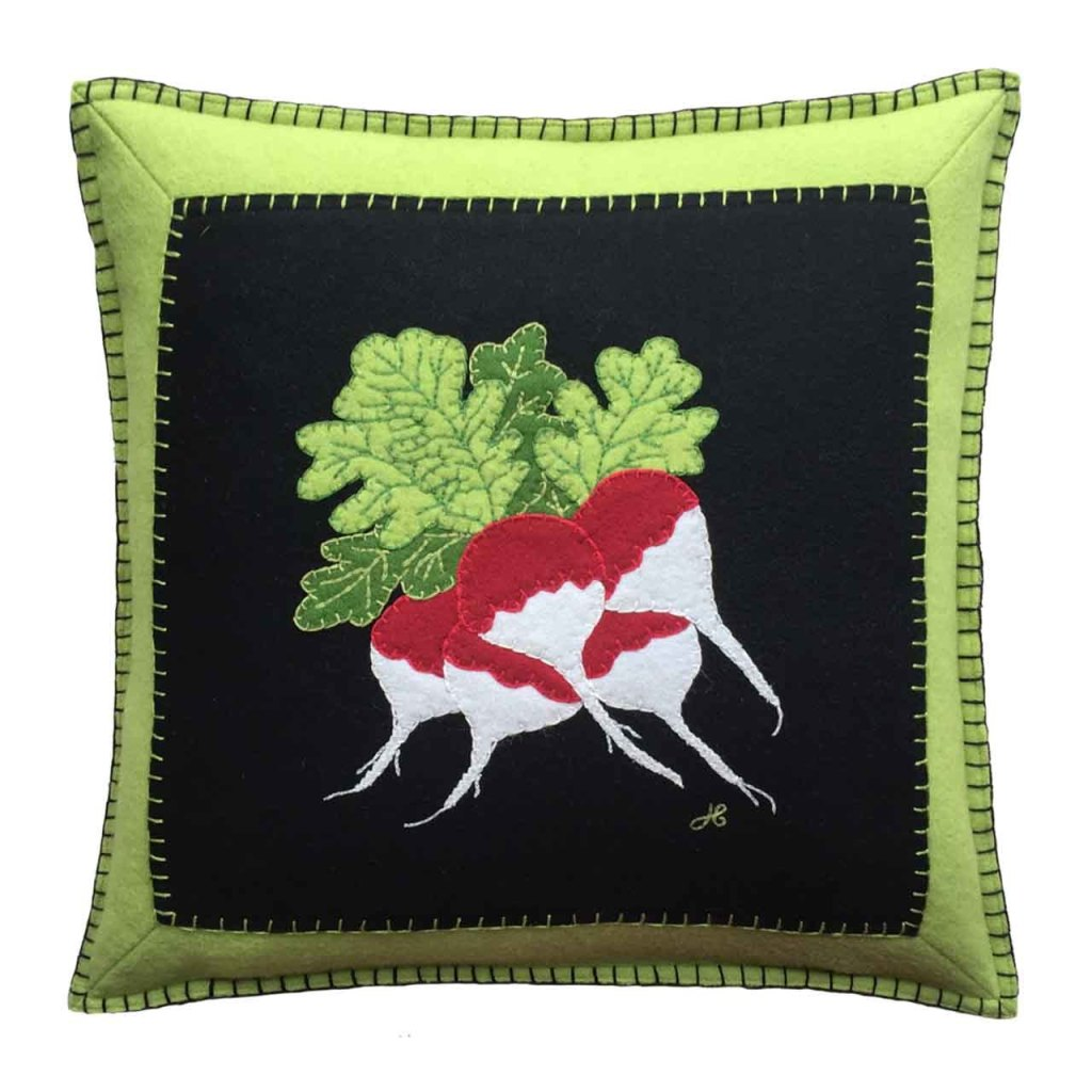 Radish design cushion from the Jan Constantine vegetable collection