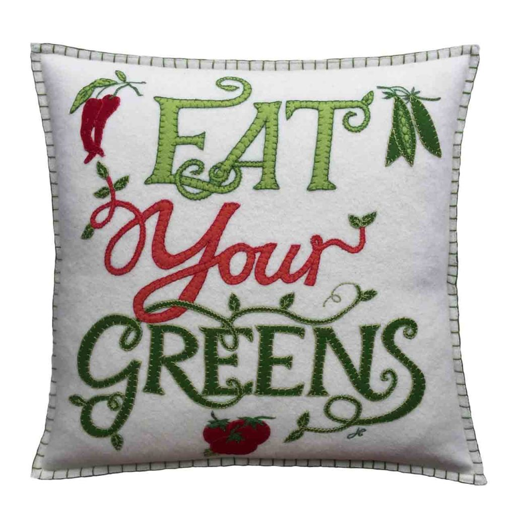 Jan Constantine vegetable collection includes this Eat Your Greens cushion with a cream felt background