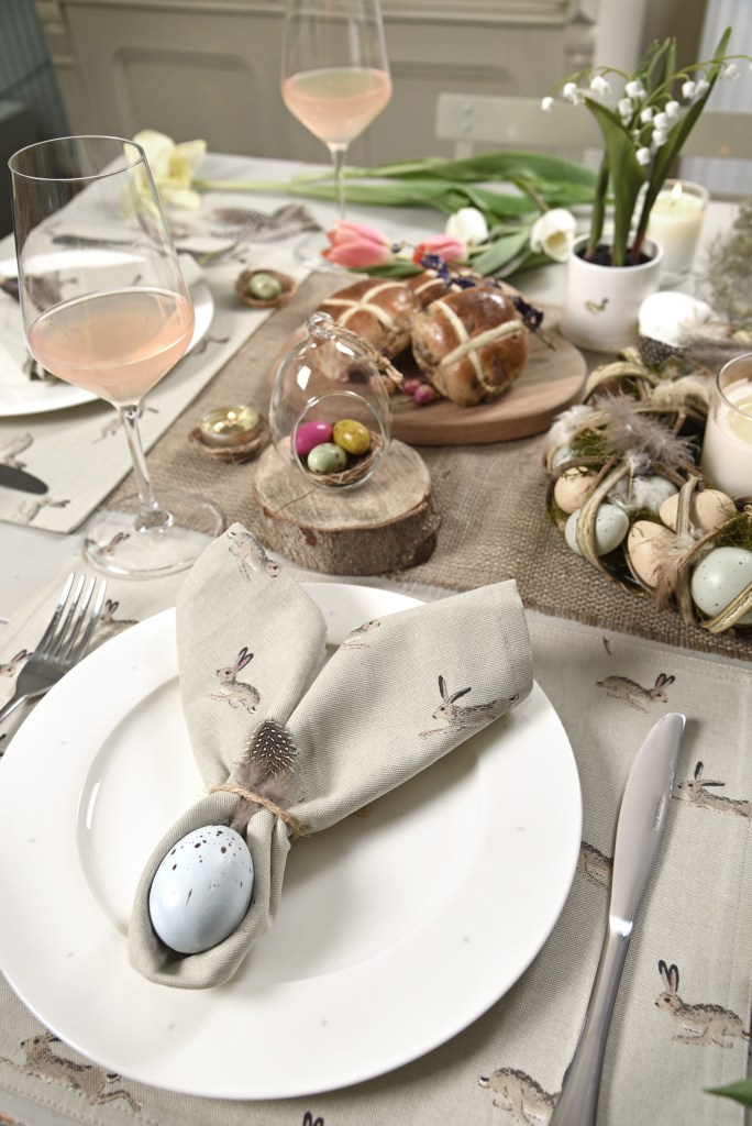 Fun and quirky Easter table ideas from Sophie Allport. Why not create a napkin design like this for your Easter dining?