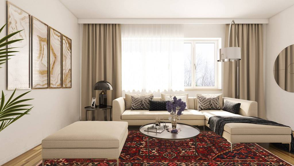 Large rugs are ideal for using on a living room floor