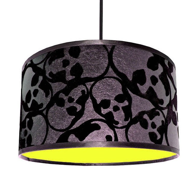 This flocked skull design lampshade would be right at home amongst your Halloween party decorations