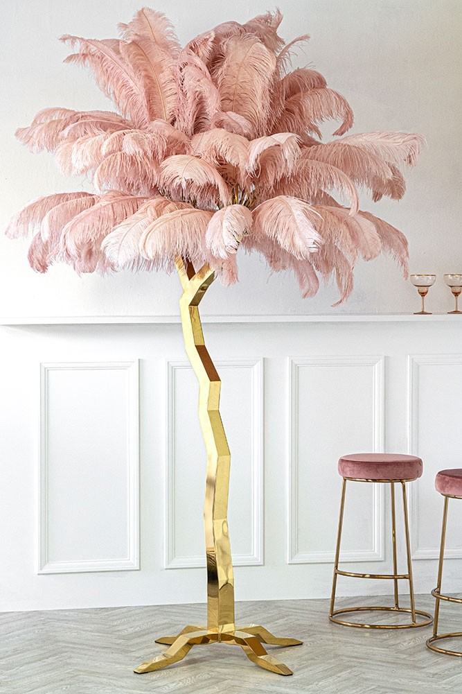 Stunning pink ostrich feather gold floor standing tree sculpture. This would look amazing in the right interior space.