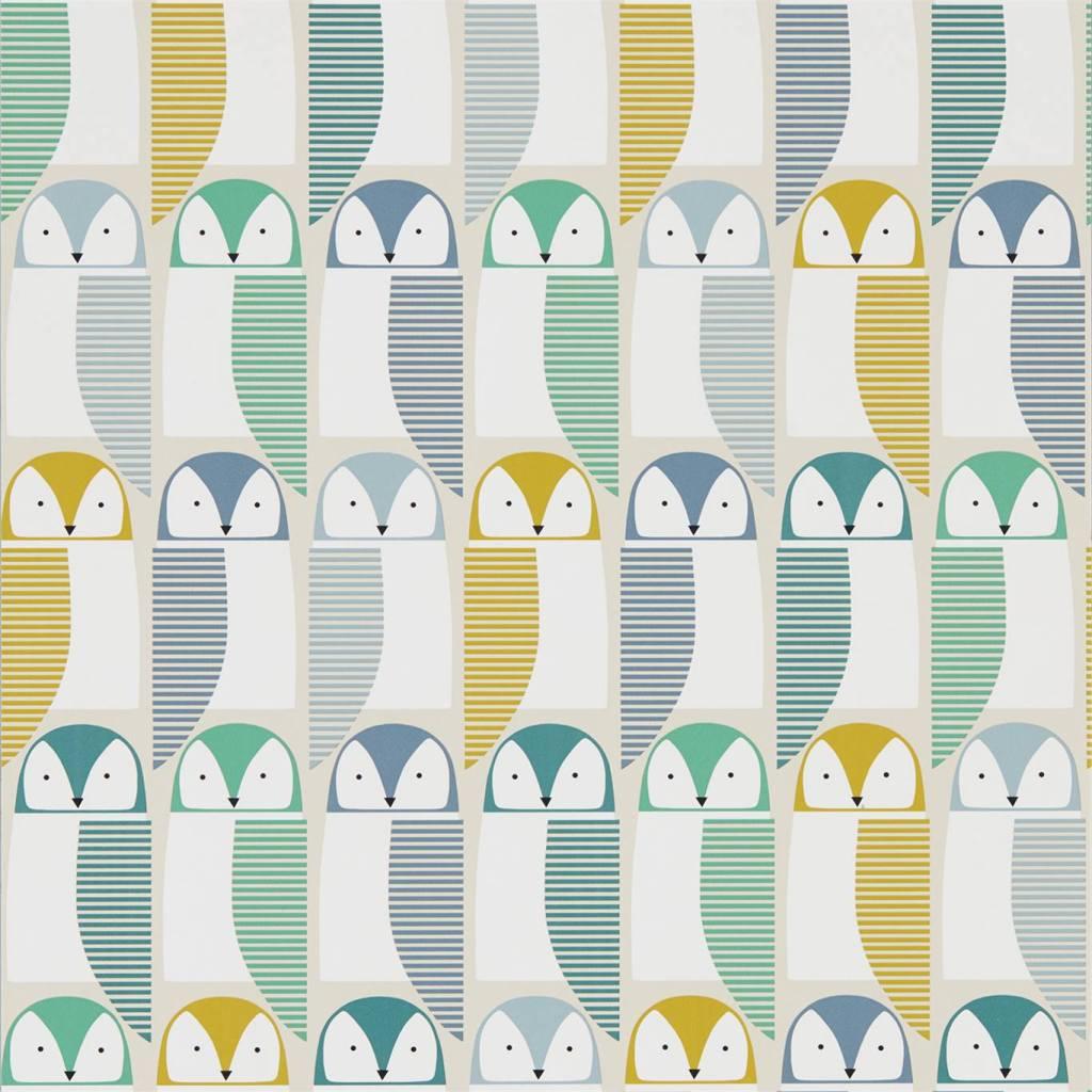 Scandinavian style Barnie Owl wallpaper from the Scion Noukku range