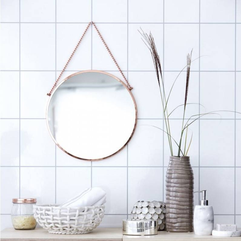 Scandi style round copper edged mirror - great for a bathroom, bedroom or hallway.