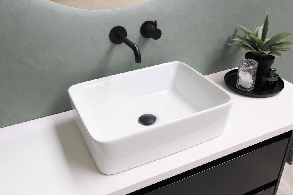 Contemporary clean and uncluttered bathroom countertop