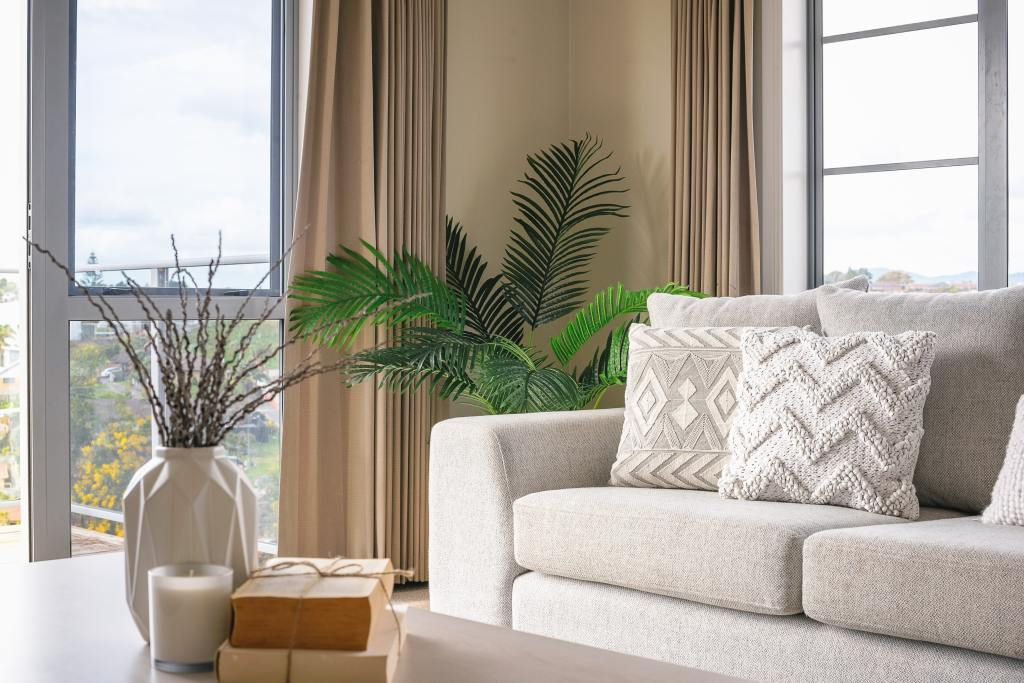 Calm and serene living room with a neutral colour palette