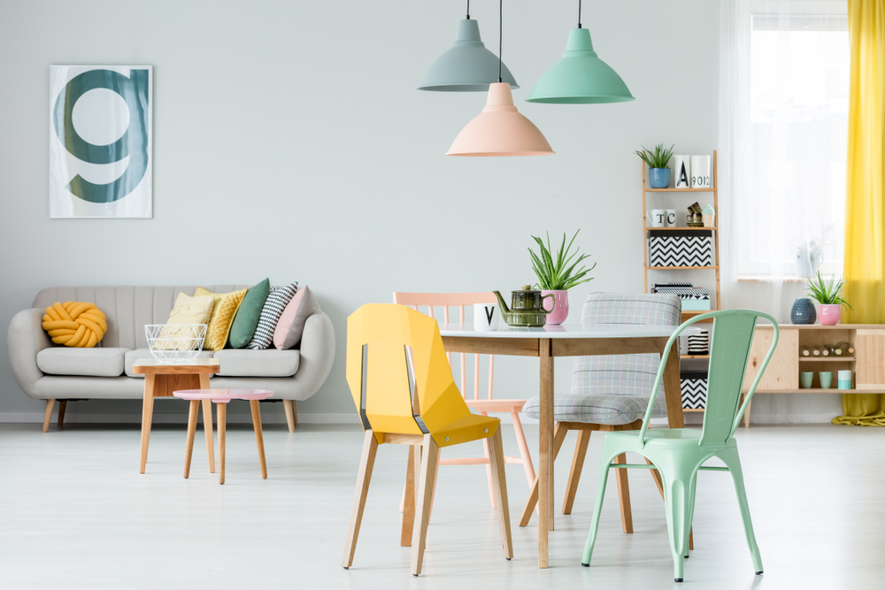 Add modern colourful chairs to your home for a pop of colour