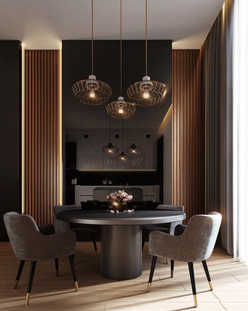 Stunning luxury kitchen with contemporary lighting