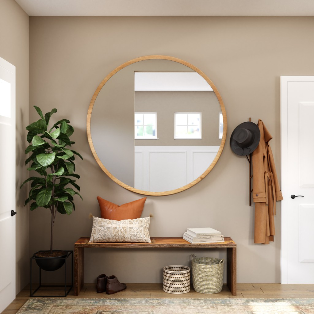 Hang mirrors on a hall wall to create a feeling of space