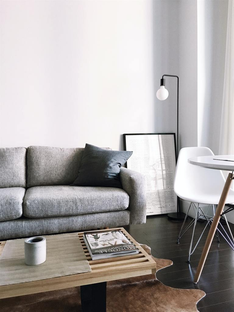 Monochrome colours can work well in smaller spaces