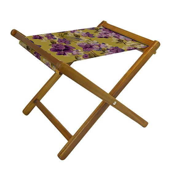 Folding Amberley floral footstool in purple, Lemon Made