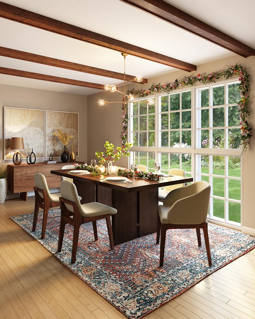 Dining table and room decorated for a holiday family celebration