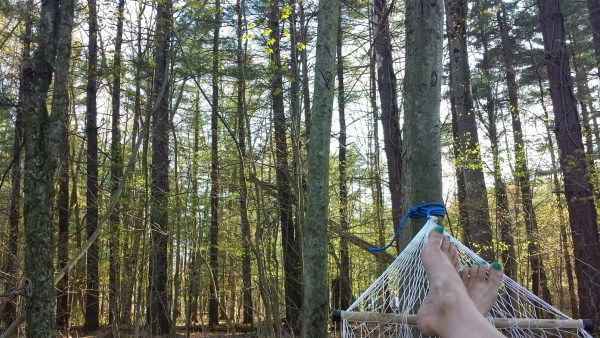 bare feet on hammock in the woods summer relaxation