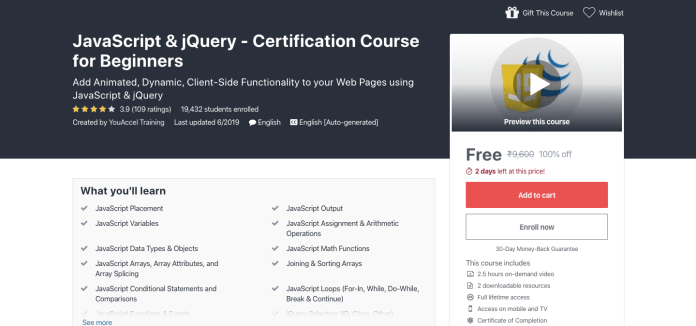 Free JavaScript & jQuery Certification Course