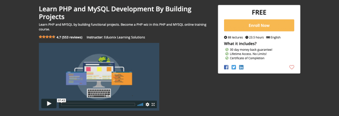 Free PHP and MySQL Development Certification Course