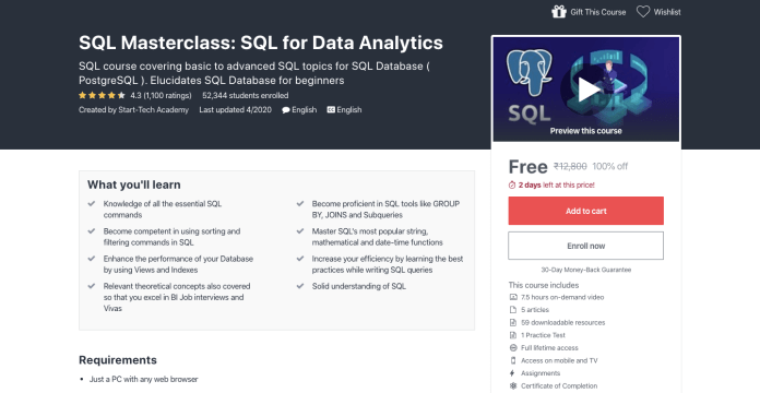 Free SQL Masterclass Certification Course