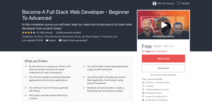 Free Full Stack Web Developer Certification Course