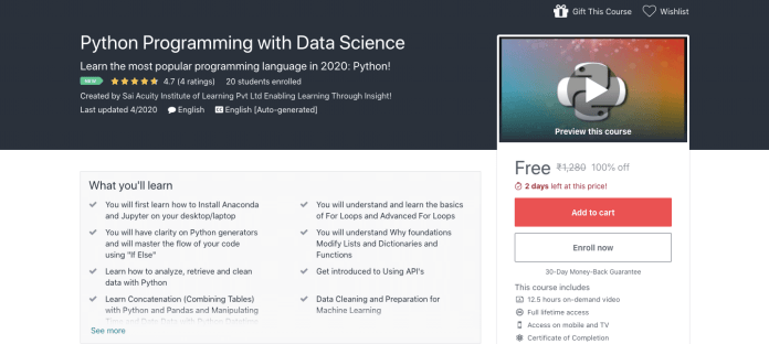 Python Programming with Data Science Certification Course