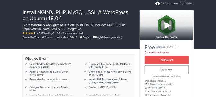 Install NGINX, PHP, MySQL, SSL & WordPress on Ubuntu 18.04