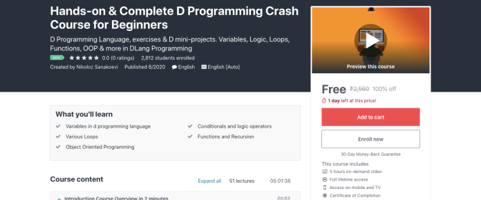 Hands-on & Complete D Programming Crash Course for Beginners