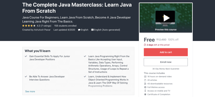 The Complete Java Masterclass: Learn Java From Scratch