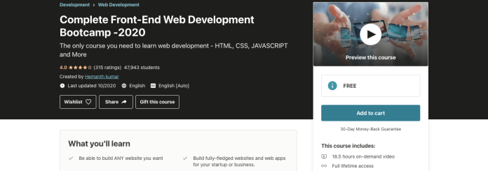 Complete Front-End Web Development Bootcamp -2020