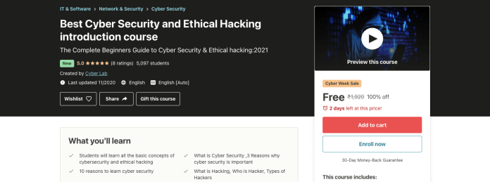 Best Cyber Security and Ethical Hacking introduction course