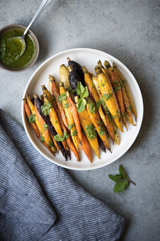 Oven Roasted Carrots w Cilantro Mint Sauce