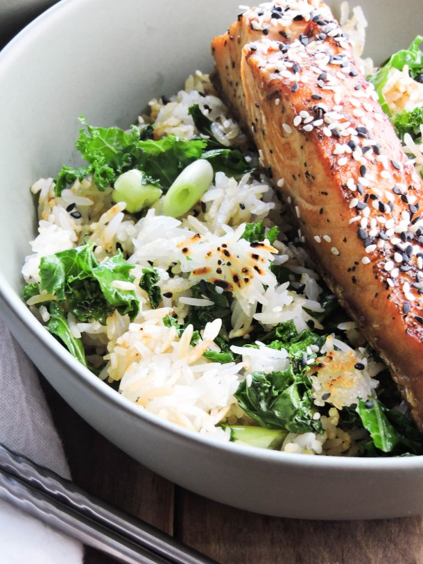 Chili Soy Salmon with Crispy Rice and Kale