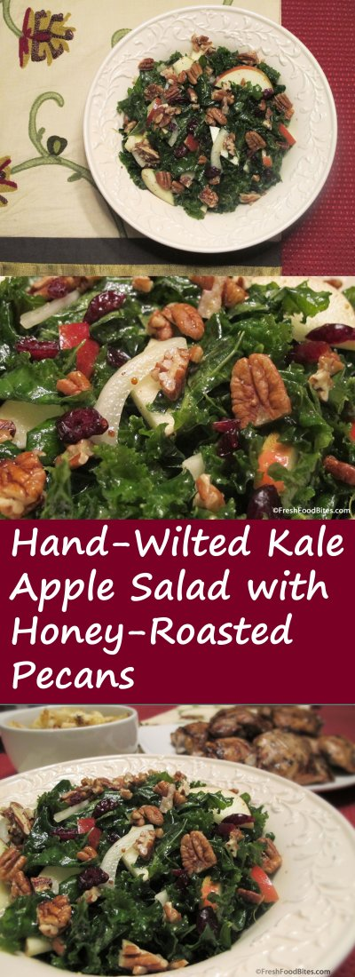 This Hand-Wilted Kale Apple Salad with Honey-Roasted Pecans is fancy, flavorful and full of good nutrition. While it makes a perfect addition to any holiday feast or dinner party, it's quick enough to toss together for a casual weeknight meal. Hand-wilting the kale makes it more tender and doesn't take long to do.
