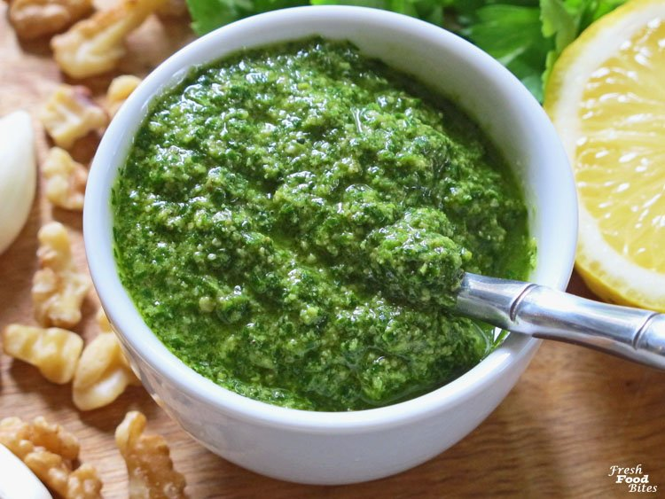 Ever have extra parsley laying around? Turn it into this simple, fresh and healthy Lemon-Pepper Parsley Pesto to avoid wasting it! This Lemon-Pepper Parsley Pesto is dairy free, with no cheese added and is really simple to make. It is as versatile as classic basil pesto and can be used in many ways. It adds a super fresh flavor and the great thing is that it can be frozen for later use.