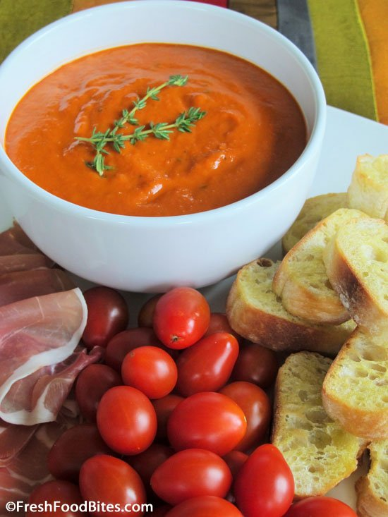 While jarred pasta sauce is convenient, it often contains more added sugar and preservatives than anyone needs. Try this Creamy Roasted Pepper Tomato Sauce for an alternative. It has no added sugar or preservatives, tastes fresh, and can be used in many ways.
