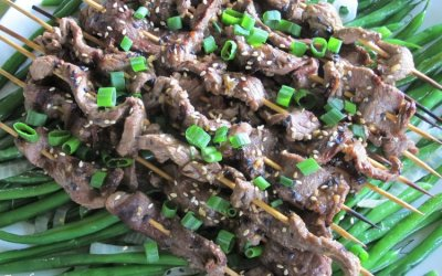 Grilled Sesame Sirloin Kabobs with Sticky Sauce
