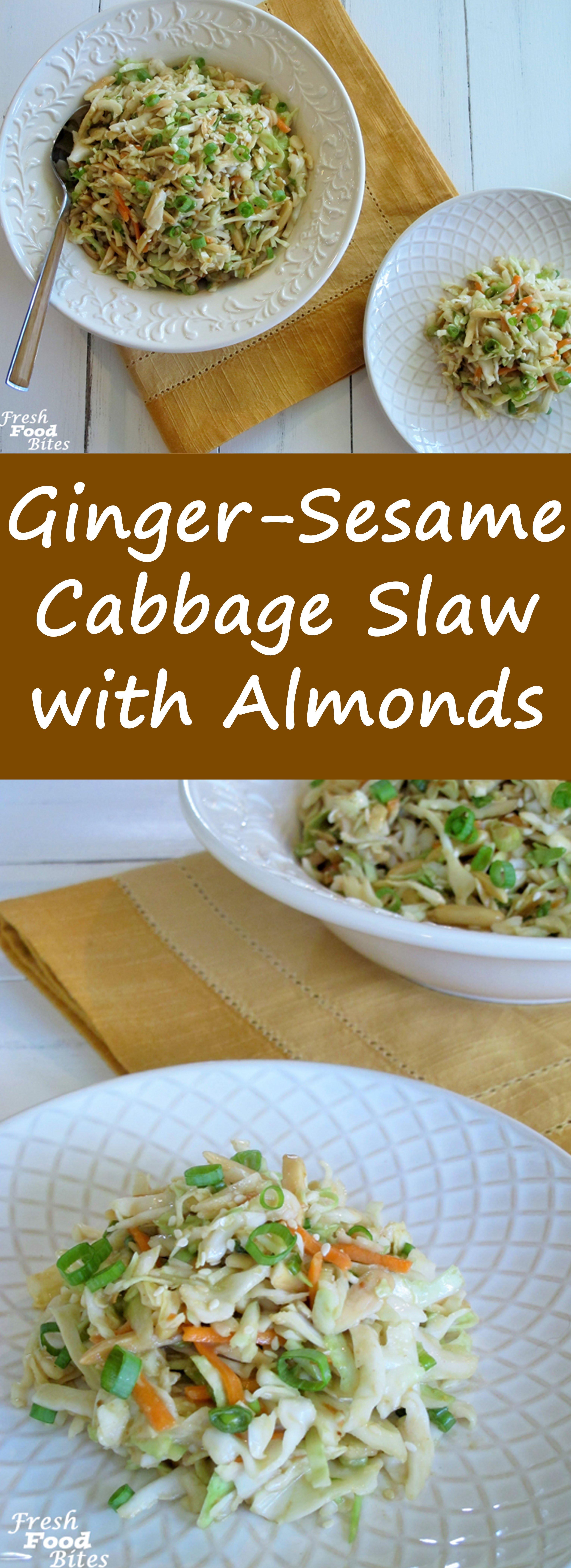 ginger sesame cabbage slaw with almonds fresh food bites