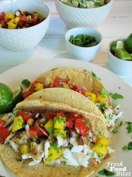 Fish tacos with fresh pico and cilantro lime slaw for Fish grill pico