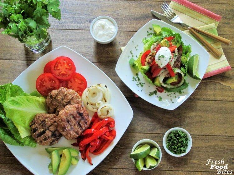 Grilled Fajita Turkey Burgers ~ Fresh Food Bites