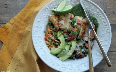 Chicken and Black Bean Cauliflower Rice Burrito Bowls