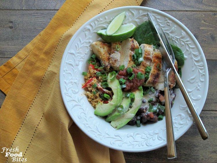 Chicken and Black Bean Cauliflower Rice Burrito Bowls