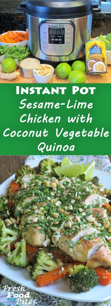 For a one pot, easy clean-up, healthy dinner you can make in your Instant Pot, try this Instant Pot Sesame-Lime Chicken with Coconut Vegetable Quinoa. It's fresh, flavorful and family friendly. Fresh mint, basil, lime peel, and toasted nuts or coconut top off this healthy meal for an explosion of summer fresh flavor.
