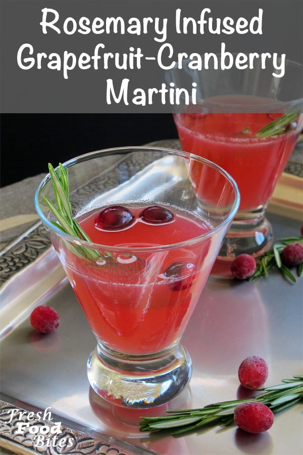 Get into the Christmas spirit with this festive, holiday inspired Rosemary Infused Grapefruit-Cranberry Martini. With a simple to make rosemary-infused cranberry and honey syrup that adds so much flavor, this martini is as complex as it is elegant. Make the syrup ahead and keep it in the fridge so you are ready to serve a festive cocktail to any last minute guests.