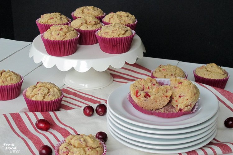 Gluten Free Cranberry Orange Oat Muffins