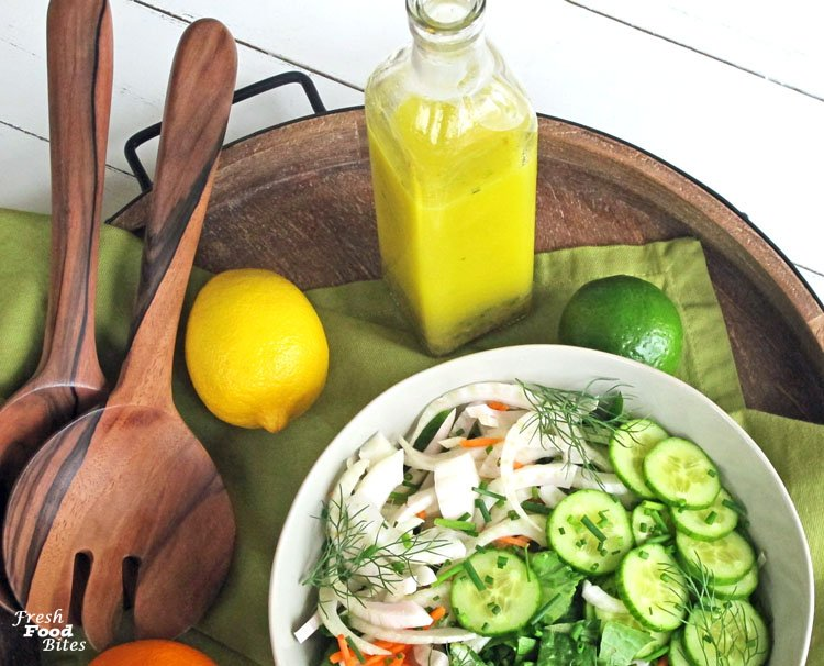Make this bright, flavorful Citrus Vinaigrette Recipe next time you want a pop of citrus on your favorite salad. Using juice from three kinds of citrus fruits, this salad packs a lot of fresh flavor that is sure to wake up your taste buds. Not only is this a refreshing salad dressing, it also works great as a marinade on your favorite chicken, fish, seafood, pork or beef.