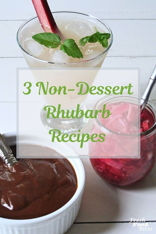 For 3 ways to use rhubarb for something different than sugar-loaded rhubarb desserts, try one of these 3 Non-Dessert Rhubarb Recipes. With two condiment recipes and one cocktail recipe, you will be all set for summer grilling season. Recipes include Tangy Rhubarb Barbecue Sauce, Pickled Rhubarb-Red Onion Relish, and Rhubarb Mojitos.