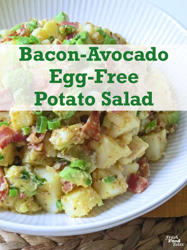 For delicious twist on classic potato salad, try this Bacon-Avocado Egg-Free Potato Salad. It only uses 6 ingredients but has a ton of flavor. It's perfect for your next summer barbecue party where you need a salad that will serve a crowd. With additions of bacon and avocado, the flavor is anything but boring, and a bright mustard and cider vinegar based dressing stands in nicely for the classic mayonnaise.