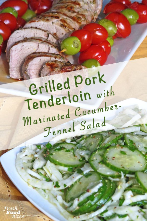 The vinegar and mustard based marinade for this healthy Grilled Pork Tenderloin with Marinated Cucumber-Fennel Salad doubles as the vinaigrette for the salad, which makes this grilling recipe low in ingredients but high in flavor. Not only is this recipe easy, it's healthy, has a quick prep time and fits the Whole 30 guidelines. It's gluten free, dairy free, and there's no added sugar, which makes it a healthy recipe you will feel good eating!