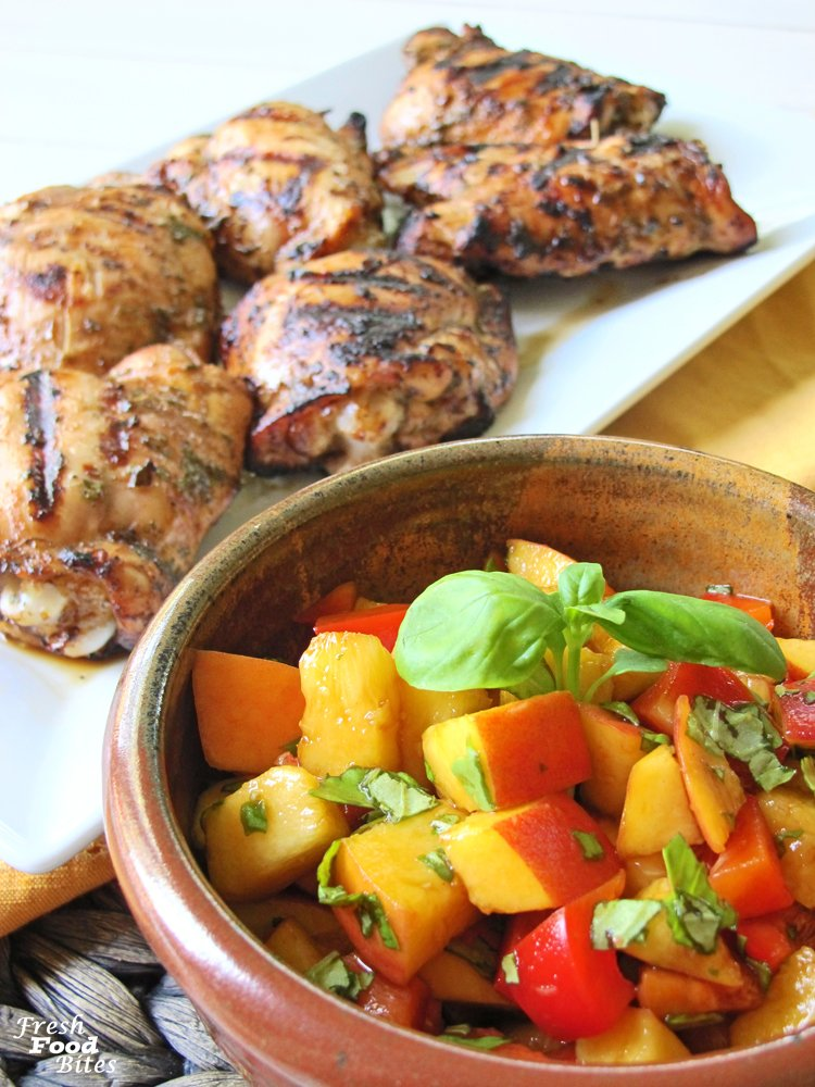 Love grilled chicken? Try this Herb-Balsamic Grilled Chicken with Peach-Pepper Salsa recipe for an easy, healthy dinner your family will rush to the table for. You can use chicken thighs or chicken breast tenderloins to make this meal fit your family's preference. The quick marinade keeps the chicken tender and juice, while the simple fresh peach salsa adds freshness that's perfect for a summer meal.