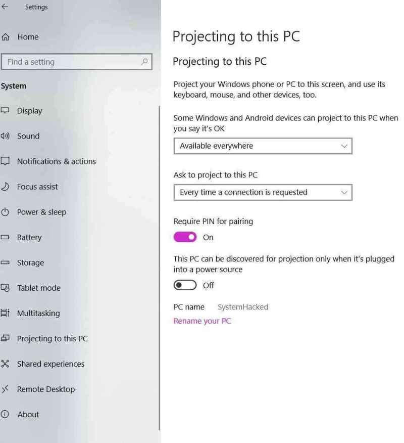 how to enable project this screen on windows 10 settings