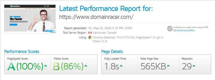 check out this speed test result of domainracer