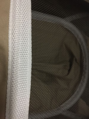 A close up look at the flame proof veil.