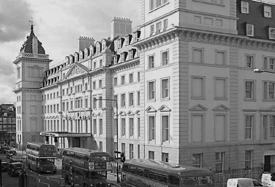 Black and white Hilton hotel